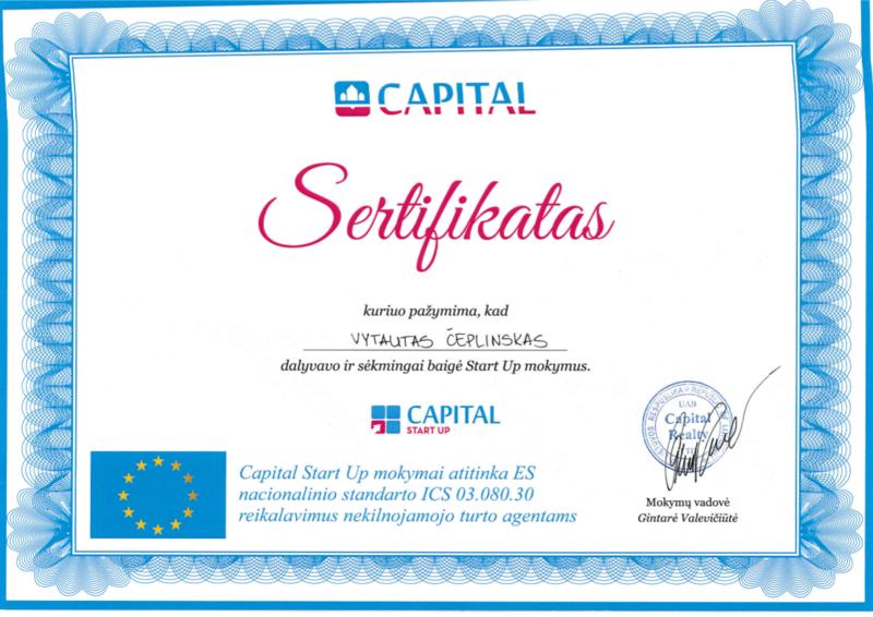 brokerio Start Up sertifikatas